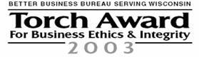 Better Business Bureau Serving Wisconsin Torch award